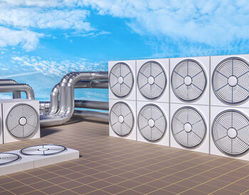 HVAC (Heating, Ventilating, Air Conditioning) units on roof. 3D illustration.